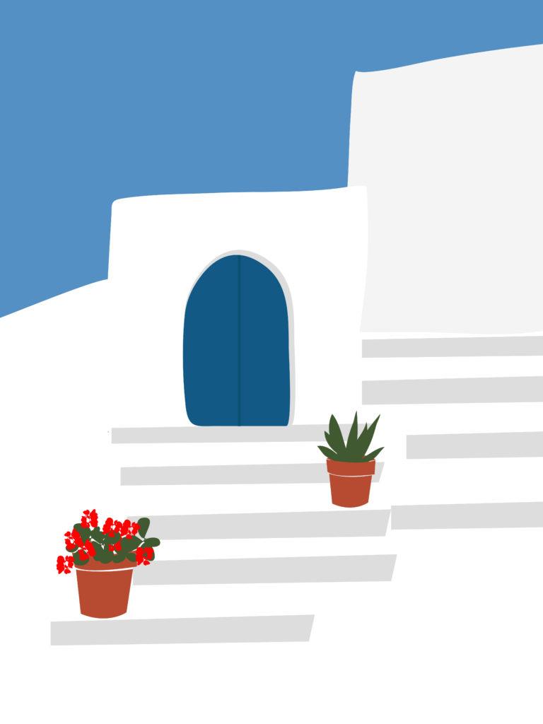#illustration #catherinelavoie #catherinelavoieillustration #catlavoieillustration #design #minimalist #greece #santorini #illustration #art #print
